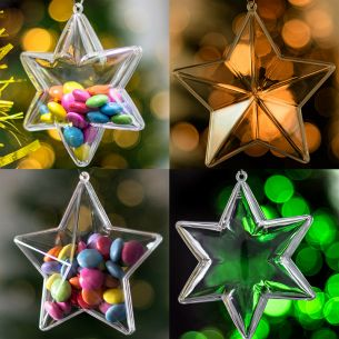x10 Pieces Stars Christmas Decorations Bundle Clear Baubles Empty
