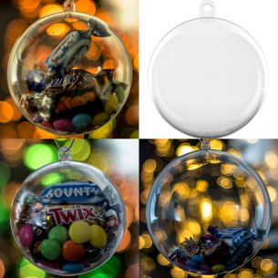 x15 Piece assorted Sized Clear Baubles Christmas Tree Decorations Set