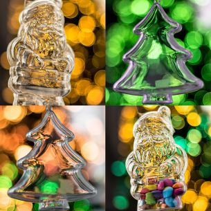 x10 Piece Xmas Tree and Santa Clear Fillable Christmas Decorations Set