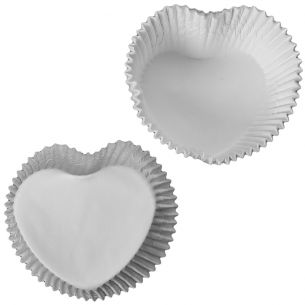 Valentines White Heart Shaped Cupcake Cases