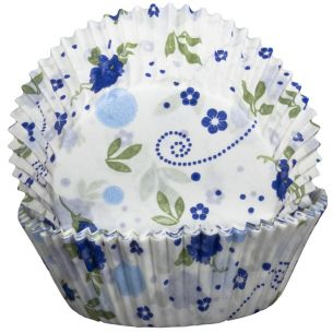 Floral Blue Cupcake Cases x60