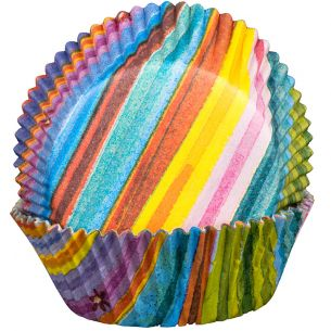 Stripy MultiColour Cupcake Cases x60