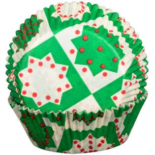 Green Christmas Cupcake Cases x60