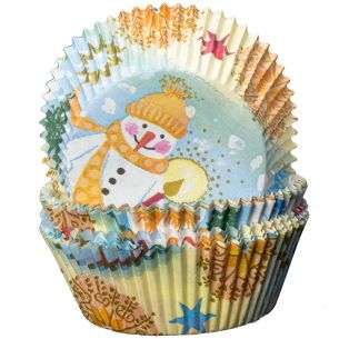 Snowman and Stars Cupcake Cases x60