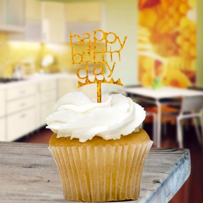 Gold Glitter Happy Birthday Cupcake Toppers X8