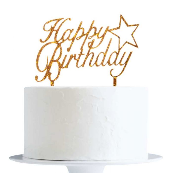 Gold Glitter Happy Birthday With Star Cake Topper X1